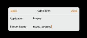 nastavenie názvu aplikácie a streamu